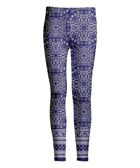 66b3505add851 love this product Navy & Silver Floral Leggings - Women & Plus