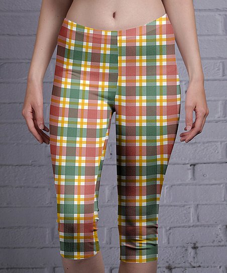 6cf15f28e52390 love this product Green & Red Plaid Capri Leggings - Women & Plus