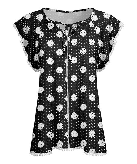 0d087c4054e love this product Black & White Polka Dot Tie-Neck Flutter-Sleeve Tunic -  Women & Plus