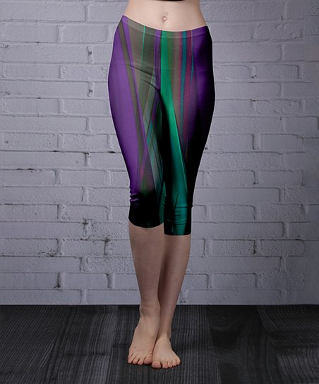 6eaddc23039 Lily Purple & Turquoise Abstract Capri Leggings - Women