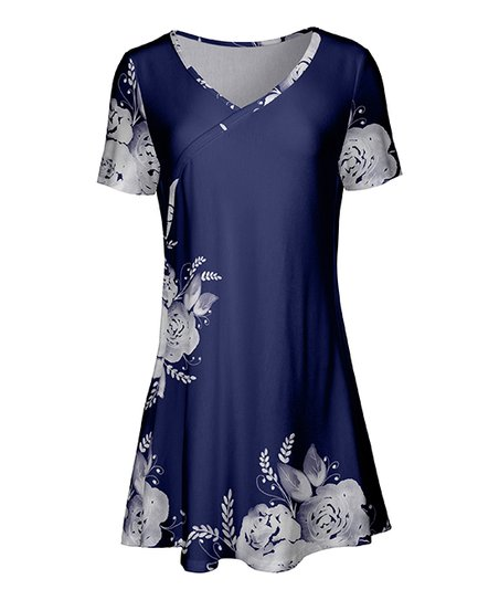 b31c96afe21 love this product Navy & White Floral Surplice Short-Sleeve Tunic - Women &  Plus