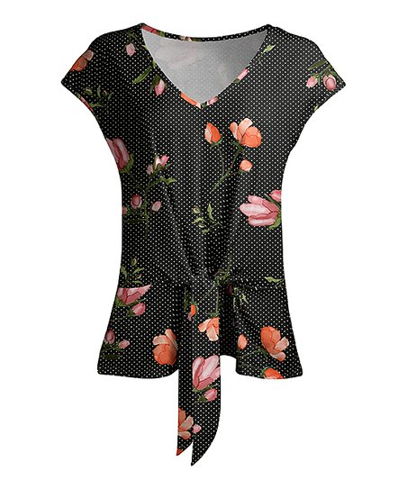 41111fb3034 love this product Black & Coral Floral Dot Tie-Waist Tunic - Women & Plus