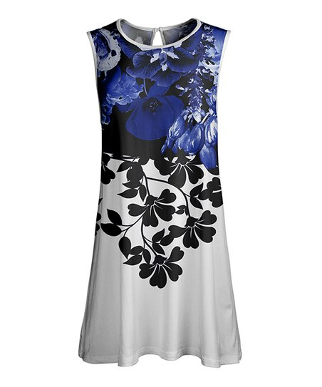 6d426a89719 love this product Navy & White Floral Color Block Sleeveless Tunic - Women  & Plus