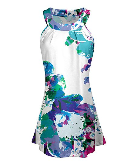 1537ce497fa love this product White Abstract Floral High-Neck Halter Tunic - Women &  Plus