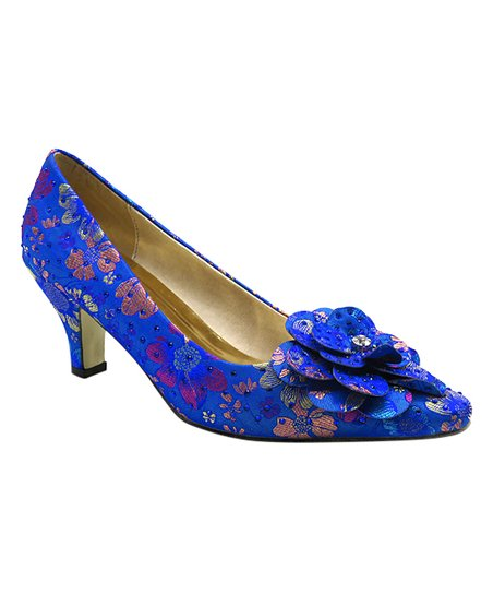 love this product Royal Blue Floral Rally Kitten Heel - Women