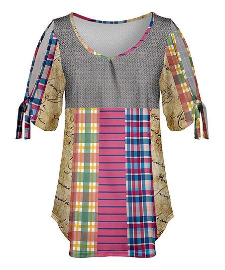 Lily Gray & Yellow Plaid Stripe Tie-Accent Blouson Tunic - Plus