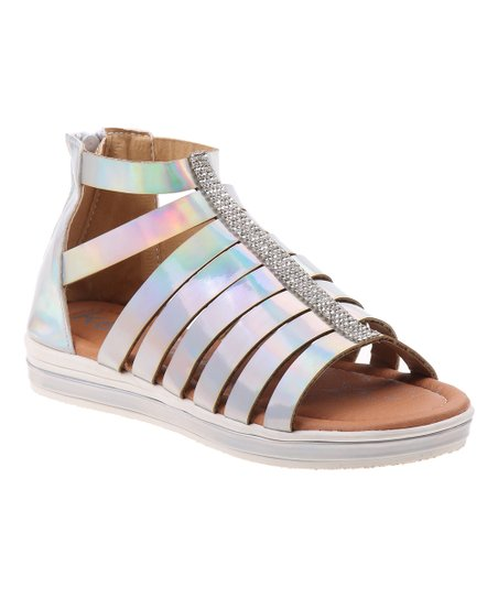639568869 love this product Silver Opalescent Glitter Strip Gladiator Sandal - Girls