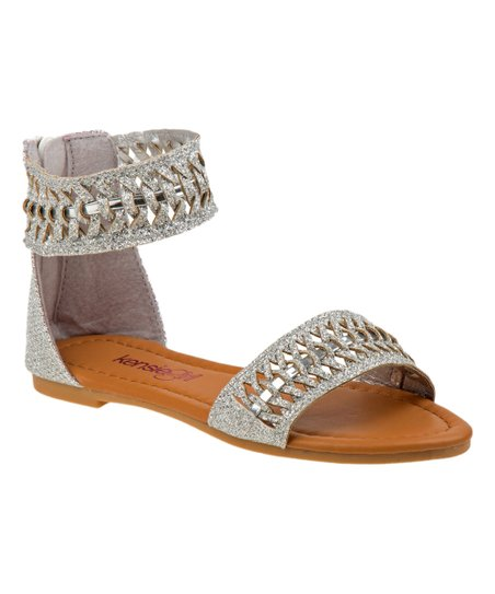 42c0f86e4 love this product Silver Woven Cutout Ankle-Wrap Sandal - Girls
