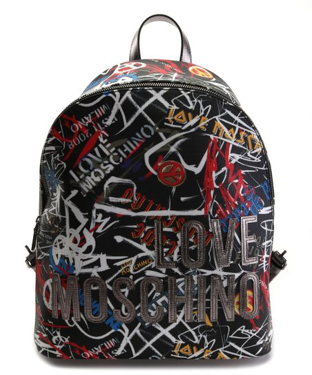 ed608d86466 love this product Black & Silver Graffiti 'Love Moschino' Leather Backpack