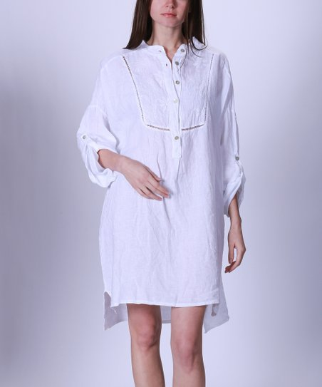 b8424a2318 love this product White Button-Front Roll-Tab Linen Shift Dress - Women