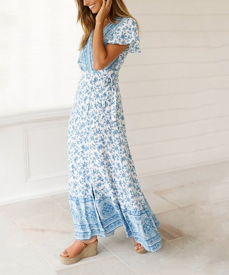 ea4cd41699c35 love this product Light Blue & White Floral Side-Slit V-Neck Maxi Dress -  Women