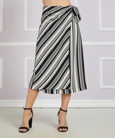 037c30b504 love this product Black & White Stripe Side-Tie Wrap Midi Skirt - Women &  Plus