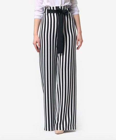 277179cec926e1 Lila Kass Black & White Stripe Tie-Waist Trousers - Plus | Zulily