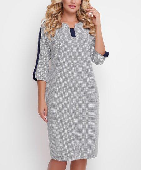 73fc782b love this product Gray & Navy Check Wool-Blend Sheath Dress - Plus