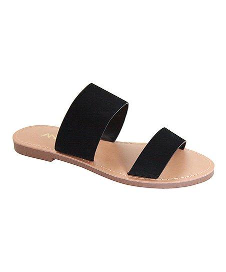 Anna Shoes Black Two-Strap Partial