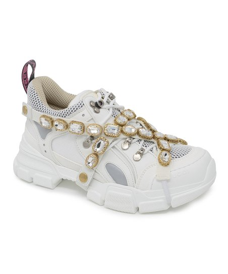6faff3eb2 love this product White Jewel-Wrapped Leather Sneaker - Women