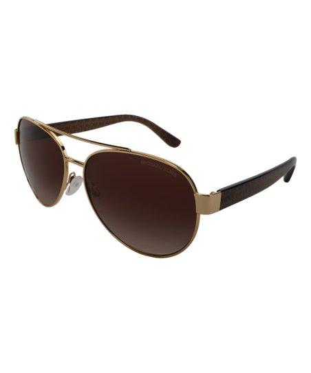 9715e273e315 Michael Kors Dark Brown & Goldtone Signature-Arm Aviator Sunglasses ...