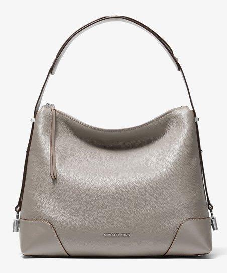 Michael Kors Pearl Gray Crosby Large Pebbled Leather Shoulder Bag