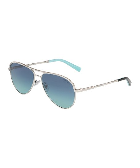 00033ab077a love this product Silvertone   Blue Modified Aviator Sunglasses