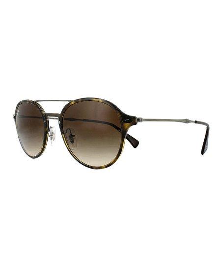 b7ed44993bf9b love this product Tortoise Gunmetal Double-Bridge Round Sunglasses - Women