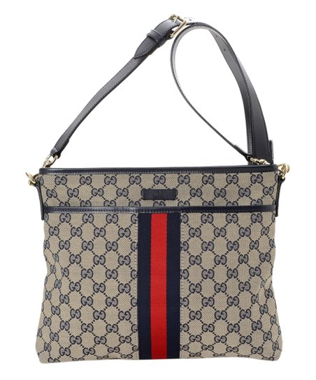 6aa1bce759a love this product Pre-Owned Navy Signature GG Canvas Crossbody Bag