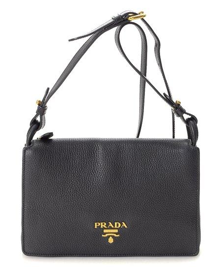 b7c5e74c1368 love this product Pre-Owned Black Vitello Daino Leather Crossbody Bag