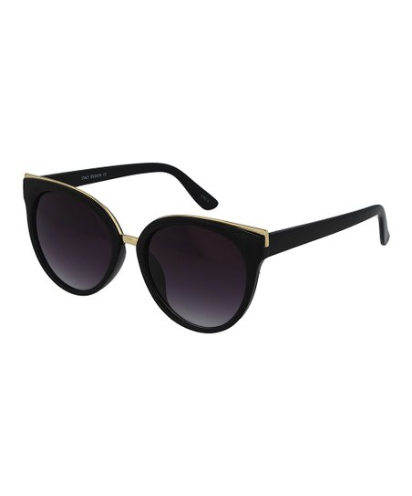 cffee36bf Ego Eyewear Glossy Black   Goldtone Cat-Eye Sunglasses