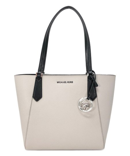 54f1acf5bdbc love this product Pearl Gray   Black Kimberly Small Bonded Leather Tote