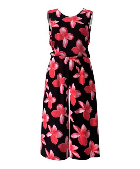 522c36aa4113 love this product Black   Red Flower Sleeveless Wide-Leg Jumpsuit - Women    Plus
