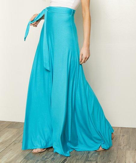 7b1a649ba Milly Penzance Aqua Tie-Accent High-Waist Maxi Skirt - Women & Plus ...