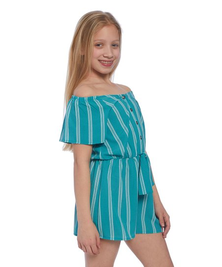 f41ae6b883c0 love this product Turquoise   White Stripe Tie-Waist Off-Shoulder Romper -  Girls