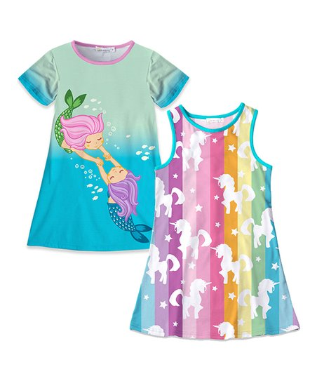 d6e4f2234424 love this product Turquoise Mermaid T-Shirt Dress   Pink   Blue Unicorn  Sleeveless Dress - Toddler   Girls