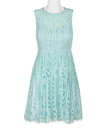 6e5b9cfef78 Julia Jordan Mint Lace Crew Neck Fit & Flare Dress - Women   Zulily