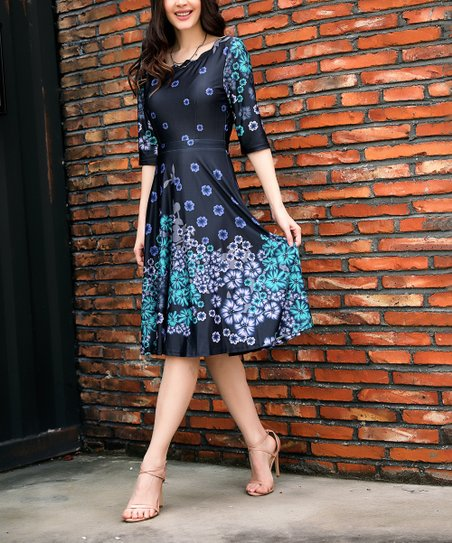 6c036beac074 love this product Black & Purple Floral Scallop Neck Fit & Flare Dress -  Women & Plus