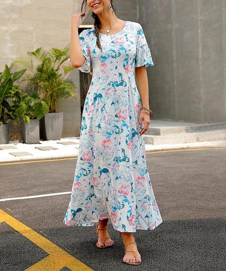 fb0866238b67 Reborn Collection Light Blue Floral Ruffle-Sleeve Maxi Dress - Women ...