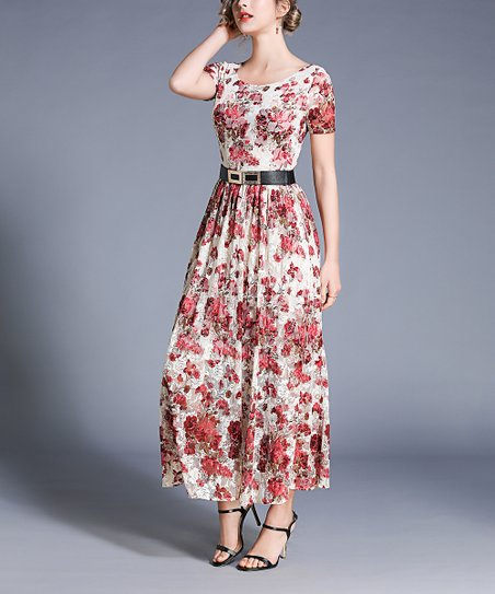 24dcd8f8a0cb love this product White   Red Floral Belted Maxi Dress - Women