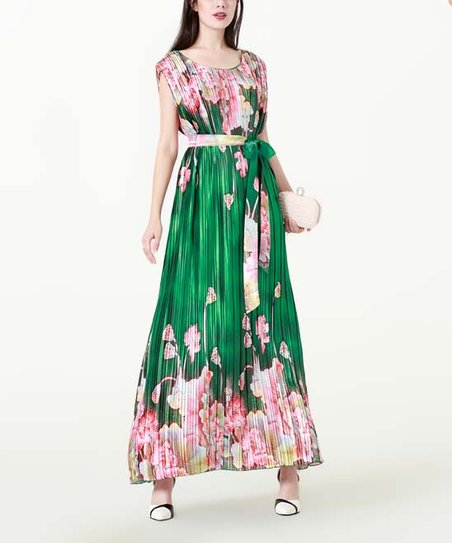 44e5f5136183 love this product Green   Pink Floral Accordion-Pleat Maxi Dress - Women