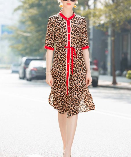 867bf3ebf2c love this product Brown & Red Leopard Tie-Waist Shirt Dress - Women