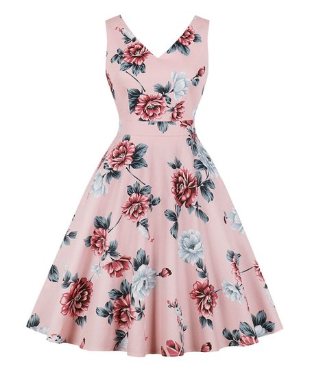90315890c5 love this product Pink Floral Tea-Length Vintage Fit & Flare Dress - Women
