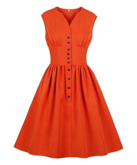 89561082434 love this product Orange Button-Neck Tea-Length Vintage Fit   Flare Dress -  Women   Plus