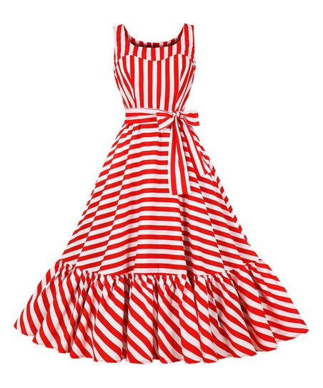 52e7dd1ee02 love this product Red Stripe Ruffle-Hem Tea-Length Vintage Fit   Flare Dress  - Women   Plus
