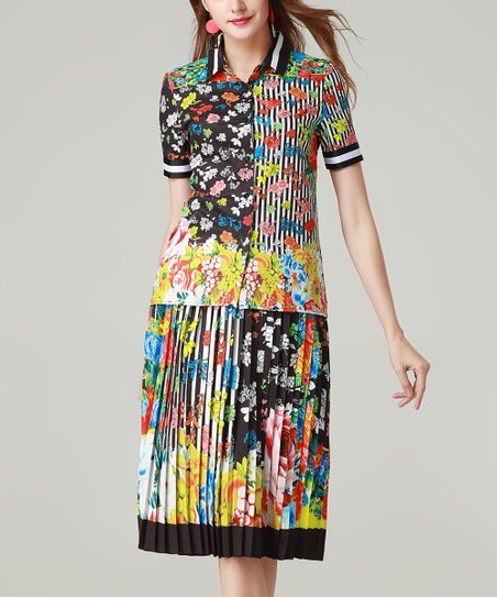 83d5084b61 love this product Black & Pink Floral Abstract Button-Up & Pleated Midi  Skirt - Women