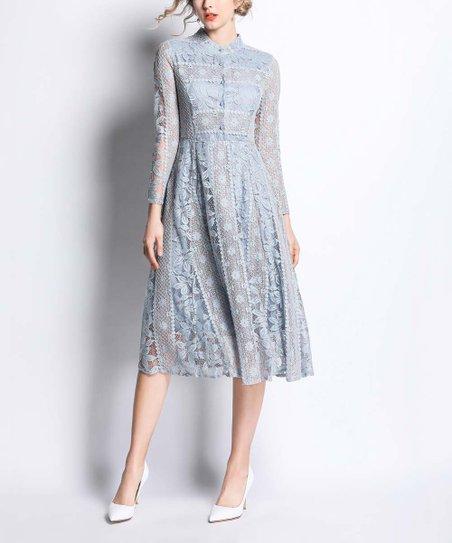 3f74a63598c Coeur de Vague Light Blue Lace Midi Dress - Women