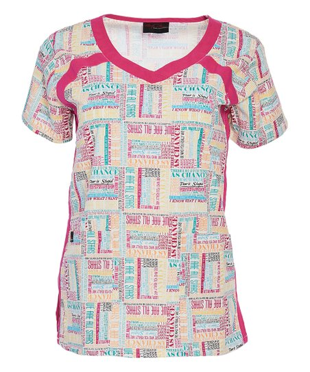 a821de7f7d1a love this product White & Pink 'Stars' Contrast-Trim V-Neck Pocket Stretch  Marilyn Scrub Top - Women & Plus
