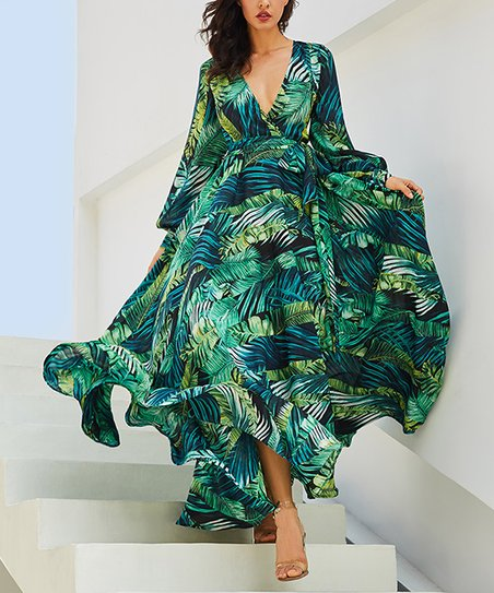 3f8ea0f2f105 LAKLOOK Blue & Green Palm Leaf Maxi Dress - Women | Zulily