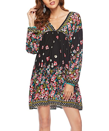 dab05b89ca82 love this product Black & Pink Floral Empire-Waist Dress - Women