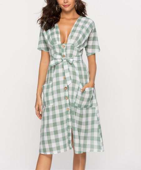 a40285f49afdf love this product Green   White Gingham Tie-Waist Midi Dress - Women