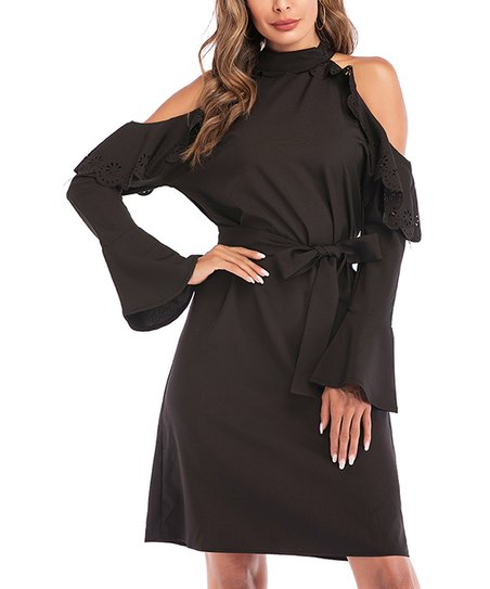 be93c84decc8 LAKLOOK Black Scallop-Ruffle Open-Shoulder Belted Shift Dress ...