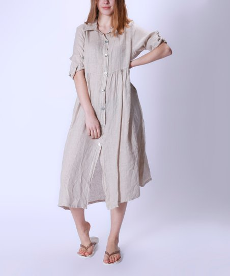 6f595155301 LAKLOOK Beige Pocket Linen Shirt Dress - Women