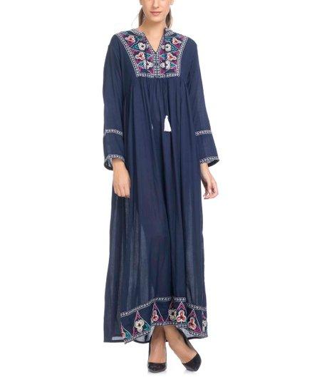 3b41f80db49 Tantra Blue Embroidered Tassel Maxi Shift Dress - Women